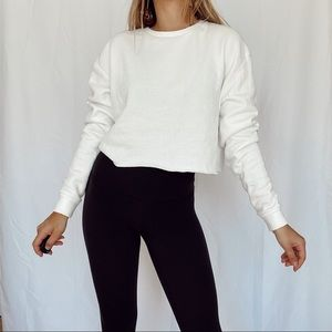 top shop white cropped long sleeve